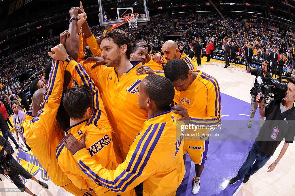 <a gi-track='captionPersonalityLinkClicked' href=/galleries/search?phrase=Pau+Gasol&family=editorial&specificpeople=201587 ng-click='$event.stopPropagation()'>Pau Gasol</a> #16 and the Los Angeles Lakers huddle up before the game against the Washington Wizards at Staples Center on March 22, 2013 in Los Angeles, California.