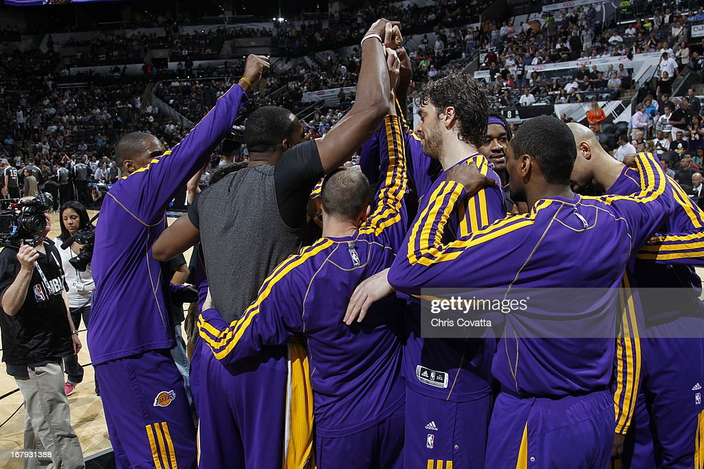Pau Gasol #16 and the Los Angeles Lakers huddle up before the game against the San Antonio Spurs in Game One of the 2013 NBA Playoffs at the AT&T Center on April 21, 2013 in San Antonio, Texas.