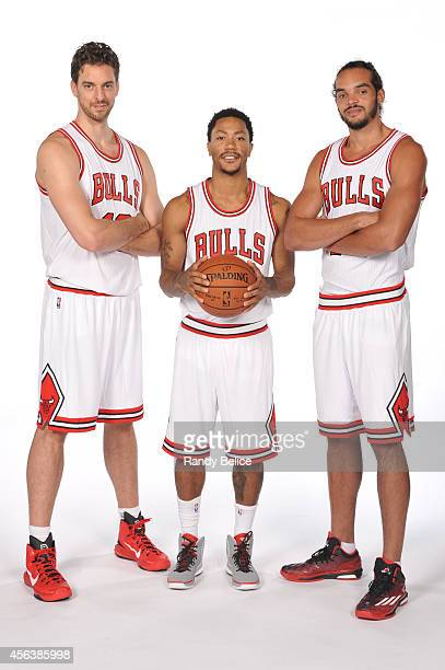 Pau Gasol Derrick Rose and Joakim Noah of the Chicago Bulls poses for a picture as part of 201415 NBA Media Day at The Advocate Center on September...