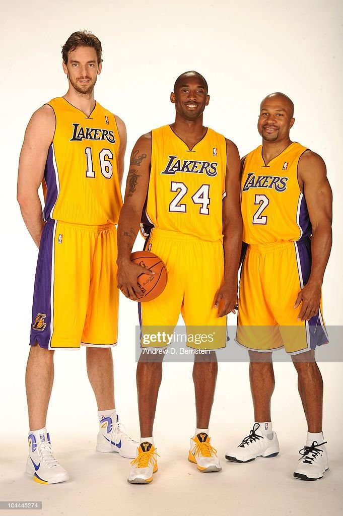 Pau Gasol #16, Kobe Bryant #24, and Derek Fisher #2 of the Los Angeles Lakers pose for a portrait at Media Day at Toyota Sports Center on September 25, 2010 in El Segundo, California.