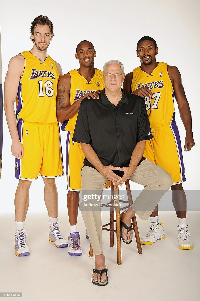 Pau Gasol #16, Kobe Bryant #24, Head Coach Phil Jackson, and Ron Artest #37 of the Los Angeles Lakers pose for a portrait during 2009 NBA Media Day on September 29, 2009 at Toyota Sports Center in El Segundo, California.