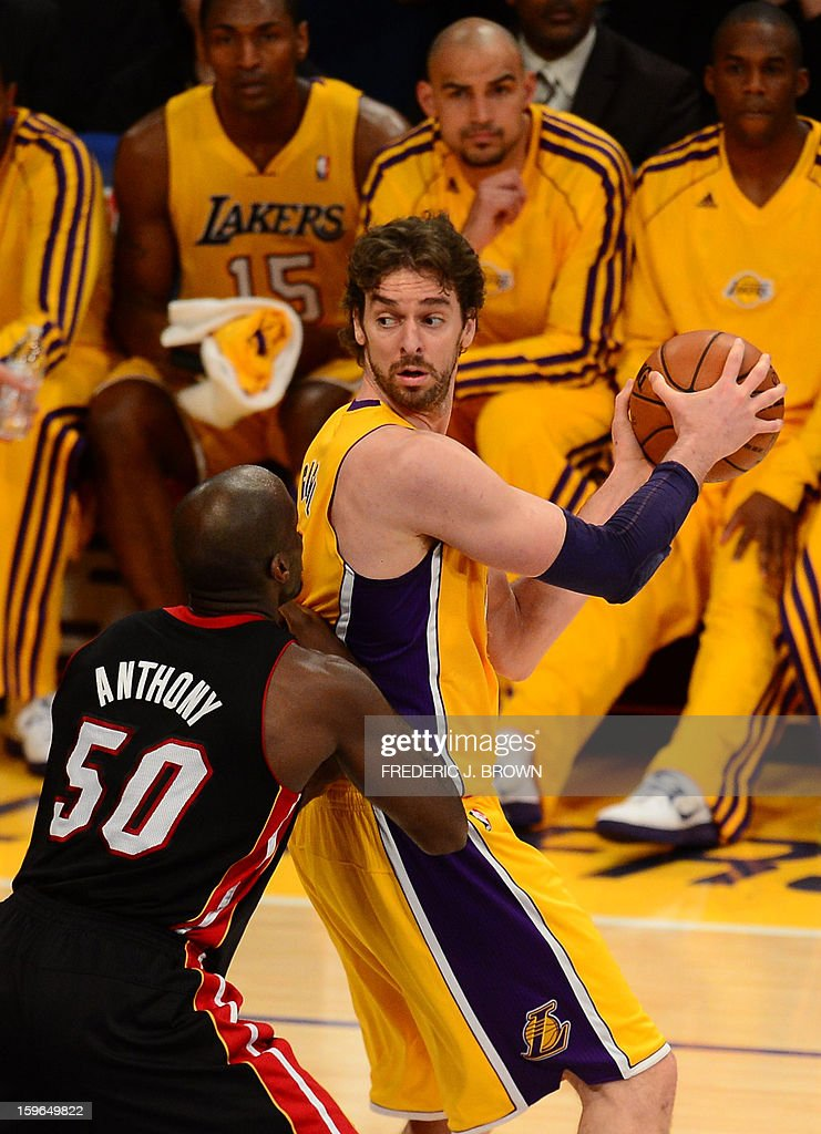 Pau Gasol of Los Angeles Lakers tries to pass Joel Anthony (L) of the Miami Heat during their NBA game on January 17, 2013 in Los Angeles, California. AFP PHOTO / Frederic J. BROWN