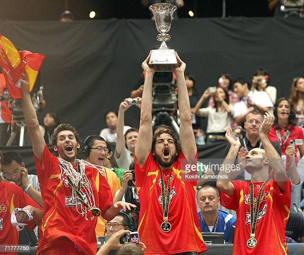 Pau Gasol of Spain celebrates after defeating Greece in the 2006 FIBA World Championship Final Round on September 3 2006 at the Saitama Super Arena...