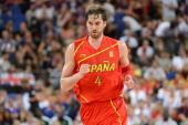 Pau Gasol of Spain celebrates making a shot during the Men's Basketball gold medal game between the United States and Spain on Day 16 of the London...