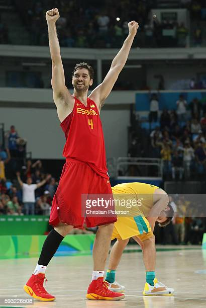 Pau Gasol of Spain celebrates winning the Men's Basketball Bronze medal game between Australia and Spain on Day 16 of the Rio 2016 Olympic Games at...