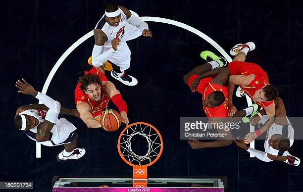 Pau Gasol of Spain drives through traffic during the Men's Basketball gold medal game between the United States and Spain on Day 16 of the London...