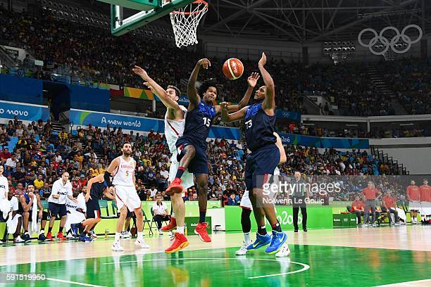 Pau Gasol of Spain Mickael Gelabale and Boris Diaw of France during Basketball game betwenn France and Spain on Olympic Games 2016 in Rio at Carioca...