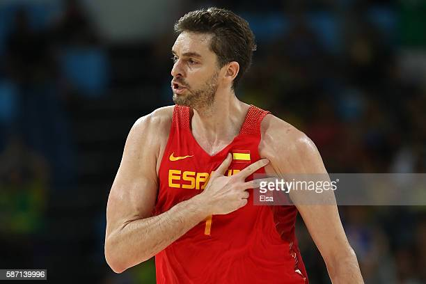 Pau Gasol of Spain reacts after a shot against Croatia during a Men's preliminary round basketball game between Croatia and Spain on Day 2 of the Rio...