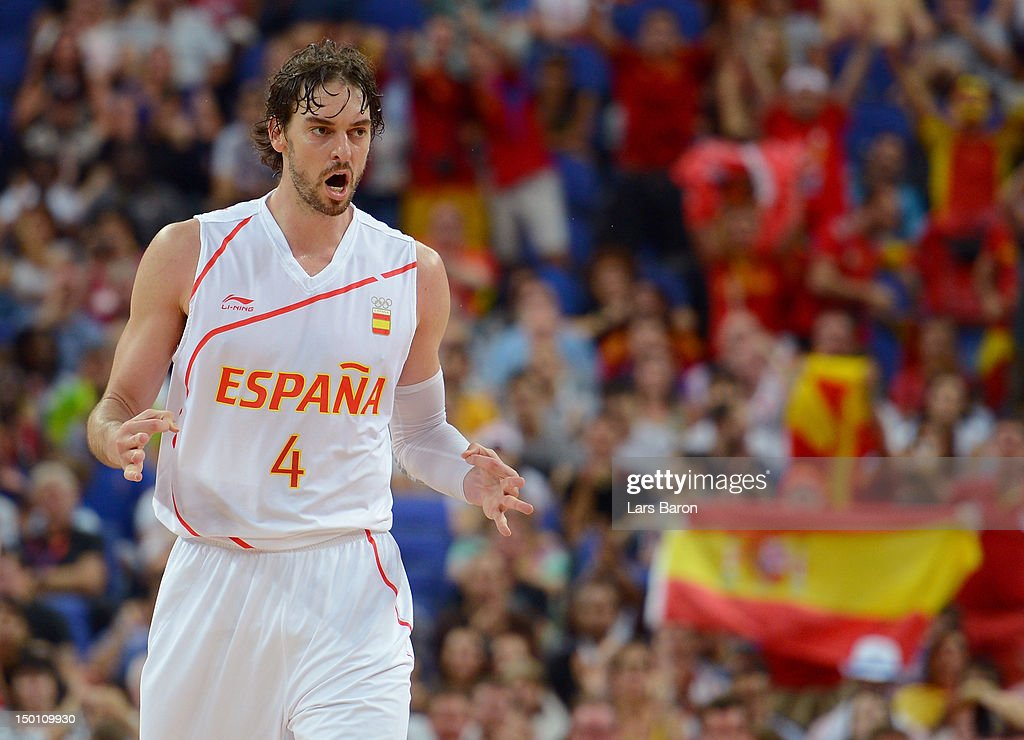 <a gi-track='captionPersonalityLinkClicked' href=/galleries/search?phrase=Pau+Gasol&family=editorial&specificpeople=201587 ng-click='$event.stopPropagation()'>Pau Gasol</a> #4 of Spain reacts against Russia during the Men's Basketball semifinal match on Day 14 of the London 2012 Olympic Games at the North Greenwich Arena on August 10, 2012 in London, England.