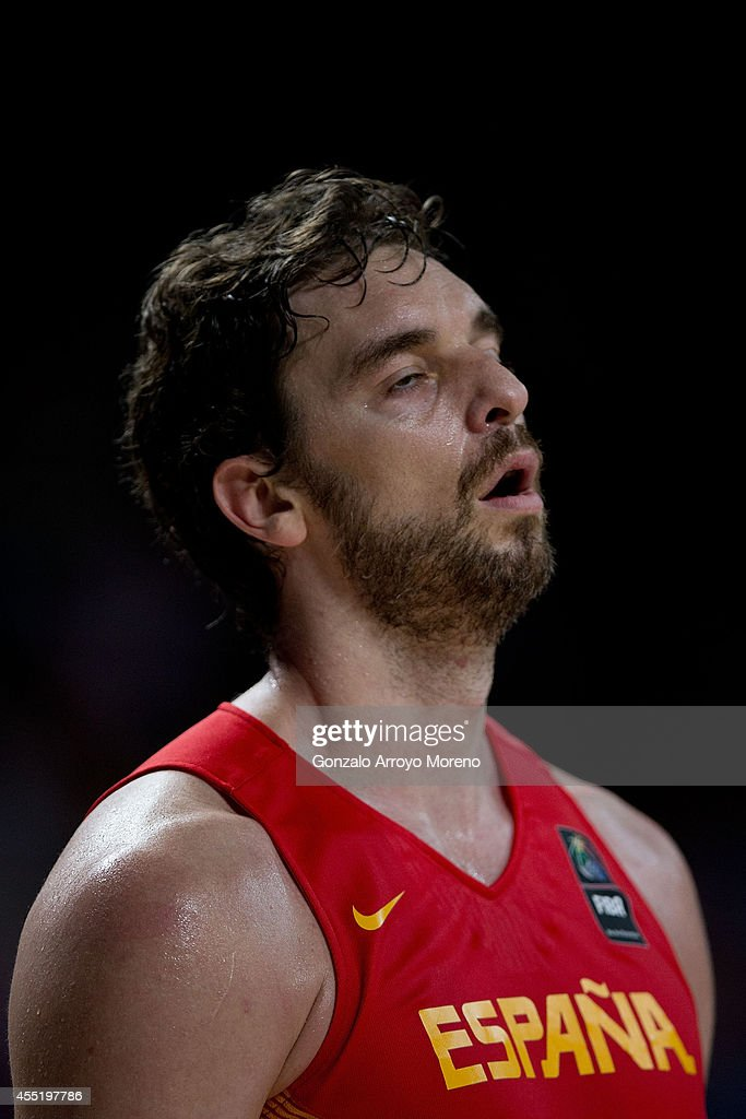 Pau Gasol of Spain reacts defeated during the 2014 FIBA World Basketball Championship quarter final match between France and Spain at Palacio de los...