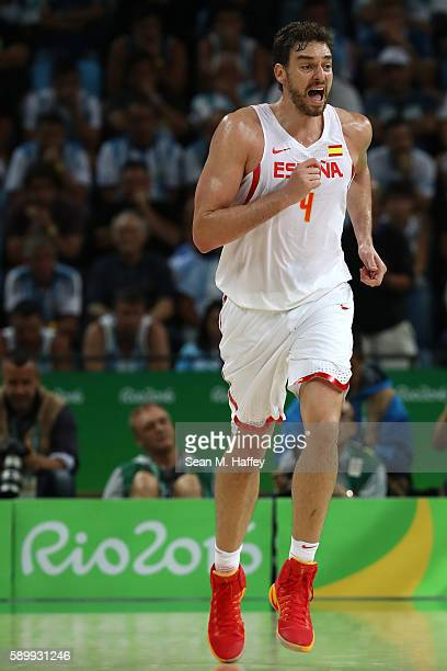 Pau Gasol of Spain reacts during a Men's Basketball Preliminary Round Group B game between Spain and Argentina on Day 10 of the Rio 2016 Olympic...