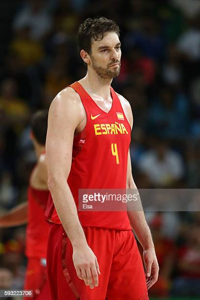 Pau Gasol of Spain reacts during the Men's Basketball Bronze medal game between Australia and Spain on Day 16 of the Rio 2016 Olympic Games at...