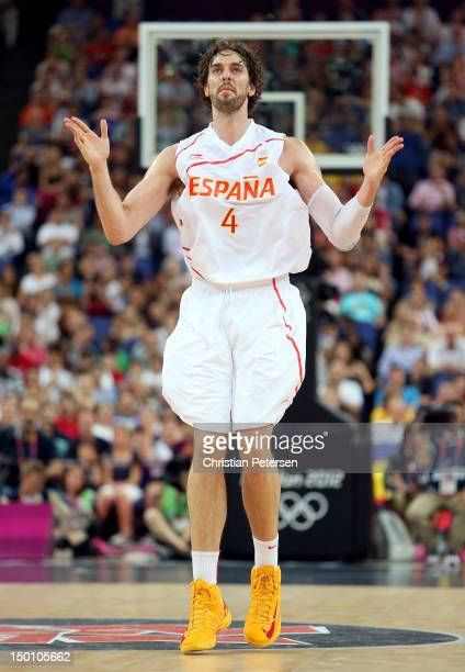 Pau Gasol of Spain reacts while taking on Russia in the first half during the Men's Basketball semifinal match on Day 14 of the London 2012 Olympic...