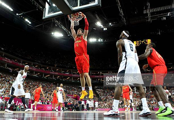 Pau Gasol of Spain slam dunks during the Men's Basketball gold medal game between the United States and Spain on Day 16 of the London 2012 Olympics...