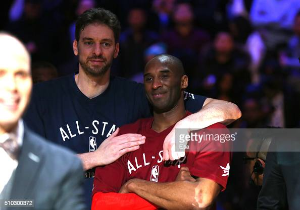 Pau Gasol of the Chicago Bulls and the Eastern Conference and Kobe Bryant of the Los Angeles Lakers and the Western Conference look on late in the...