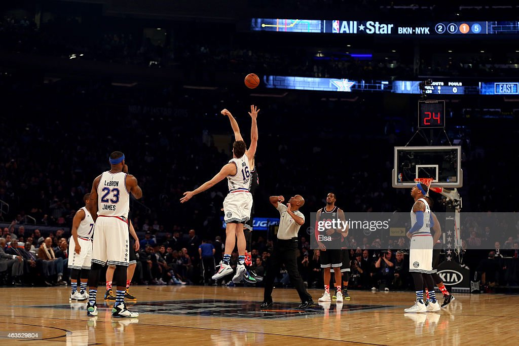 <a gi-track='captionPersonalityLinkClicked' href=/galleries/search?phrase=Pau+Gasol&family=editorial&specificpeople=201587 ng-click='$event.stopPropagation()'>Pau Gasol</a> #16 of the Chicago Bulls and the Eastern Conference tips off against <a gi-track='captionPersonalityLinkClicked' href=/galleries/search?phrase=Marc+Gasol&family=editorial&specificpeople=661205 ng-click='$event.stopPropagation()'>Marc Gasol</a> #33 of the Memphis Grizzlies and the Western Conference during the 2015 NBA All-Star Game at Madison Square Garden on February 15, 2015 in New York City.