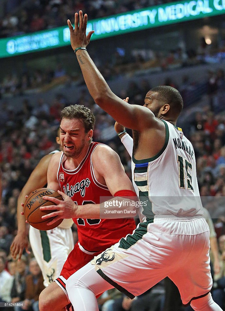 Pau Gasol #16 of the Chicago Bulls drives against Greg Monroe #15 of the Milwaukee Bucks on his way to a triple-double at the United Center on March 7, 2016 in Chicago, Illinois. The Bulls defeated the Bucks 100-90.