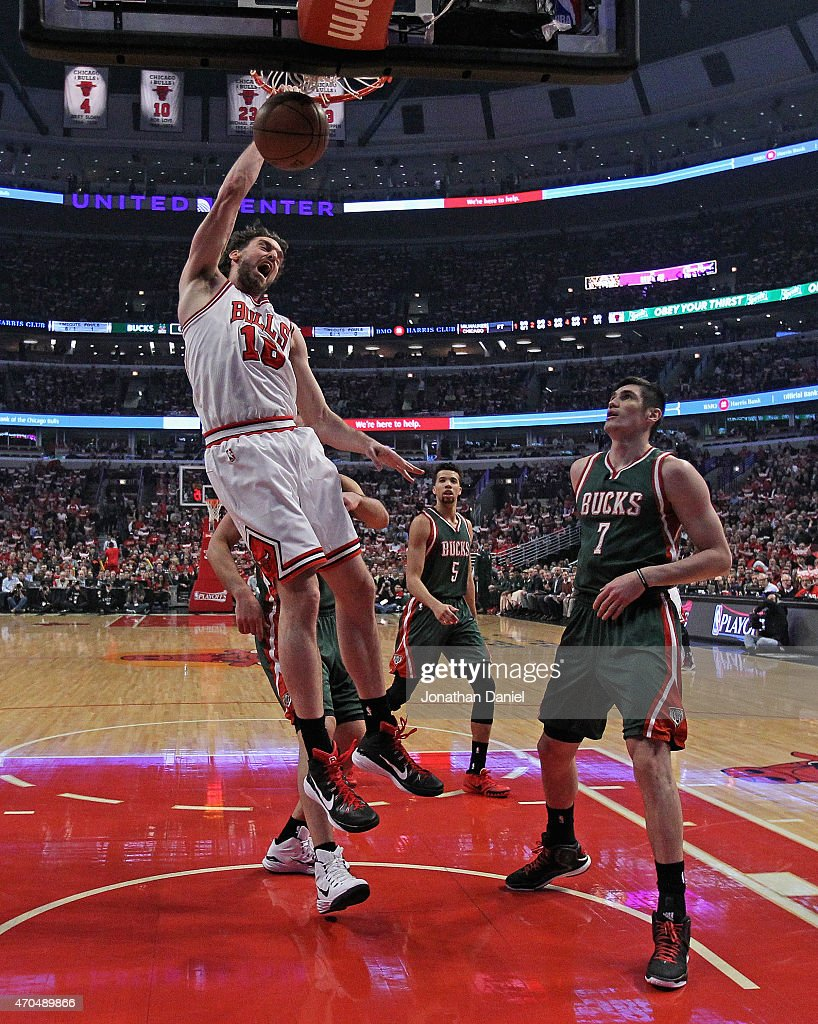 <a gi-track='captionPersonalityLinkClicked' href=/galleries/search?phrase=Pau+Gasol&family=editorial&specificpeople=201587 ng-click='$event.stopPropagation()'>Pau Gasol</a> #16 of the Chicago Bulls dunks over <a gi-track='captionPersonalityLinkClicked' href=/galleries/search?phrase=Ersan+Ilyasova&family=editorial&specificpeople=557070 ng-click='$event.stopPropagation()'>Ersan Ilyasova</a> #7 of the Milwaukee Bucks during the first round of the 2015 NBA Playoffs at the United Center on April 20, 2015 in Chicago, Illinois. The Bulls defeated the Bucks 91-82.