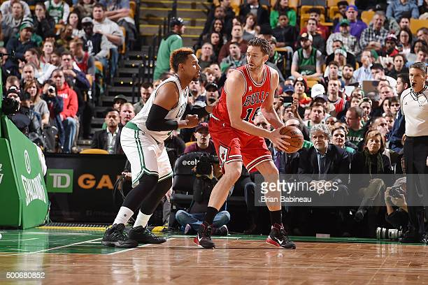 Pau Gasol of the Chicago Bulls handles the ball during the game against the Boston Celtics on December 9 2015 at the TD Garden in Boston...