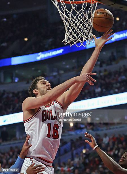 Pau Gasol of the Chicago Bulls puts up a shot against the Denver Nuggets on his way to a gamehigh 26 points at the United Center on December 2 2015...
