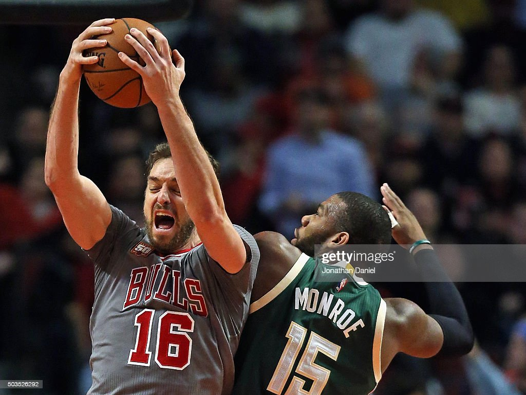 <a gi-track='captionPersonalityLinkClicked' href=/galleries/search?phrase=Pau+Gasol&family=editorial&specificpeople=201587 ng-click='$event.stopPropagation()'>Pau Gasol</a> #16 of the Chicago Bulls rebounds over <a gi-track='captionPersonalityLinkClicked' href=/galleries/search?phrase=Greg+Monroe&family=editorial&specificpeople=5042440 ng-click='$event.stopPropagation()'>Greg Monroe</a> #15 of the Milwaukee Bucks at the United Center on January 5, 2016 in Chicago, Illinois. The Bulls defeated the Bucks 117-106.