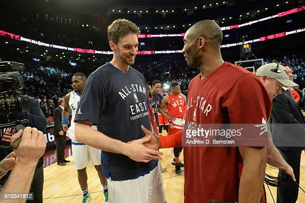 Pau Gasol of the Eastern Conference and Kobe Bryant of the Western Conference after the NBA AllStar Game as part of 2016 NBA AllStar Weekend on...