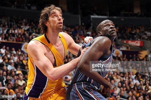 Pau Gasol of the Los Angeles Lakers and DeSagana Diop of the Charlotte Bobcats look for the rebound during the game on February 3 2010 at Staples...