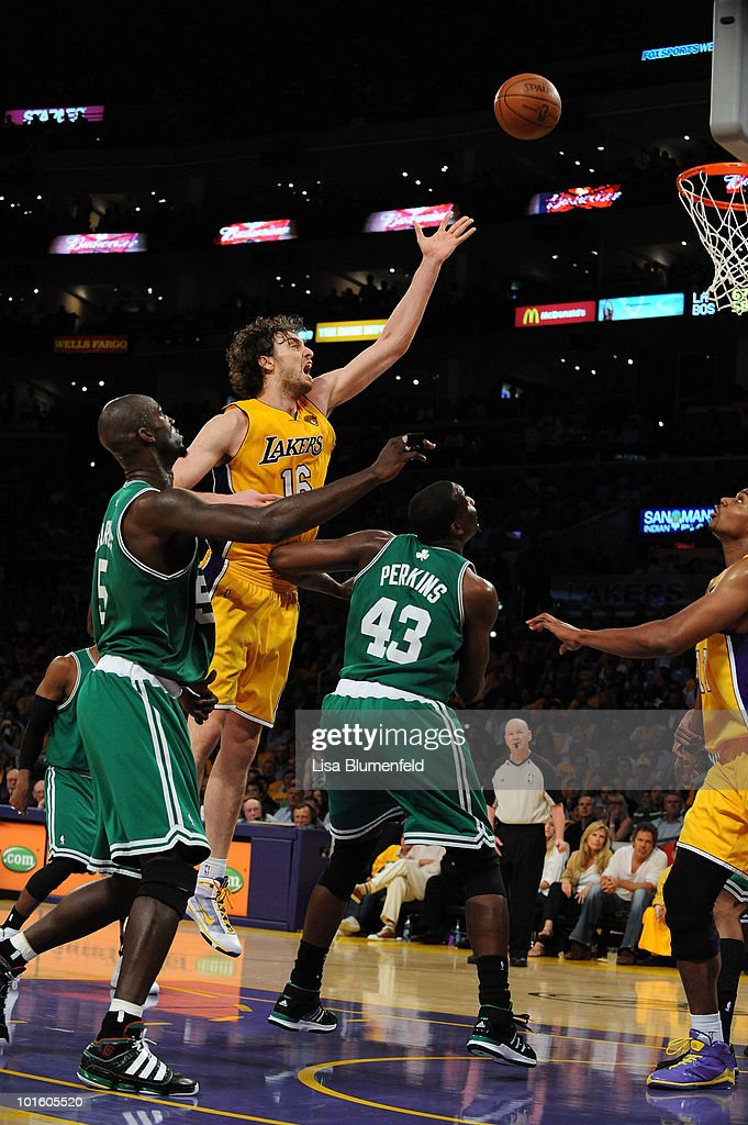 <a gi-track='captionPersonalityLinkClicked' href=/galleries/search?phrase=Pau+Gasol&family=editorial&specificpeople=201587 ng-click='$event.stopPropagation()'>Pau Gasol</a> #16 of the Los Angeles Lakers attempts a shot against the Boston Celtics in Game One of the 2010 NBA Finals at Staples Center on June 3, 2010 in Los Angeles, California. The Lakers won 102-89.