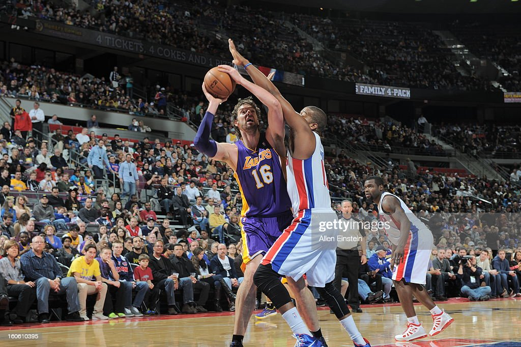 Pau Gasol #16 of the Los Angeles Lakers attempts a shot against the Detroit Pistons during the game on February 3, 2013 at The Palace of Auburn Hills in Auburn Hills, Michigan.