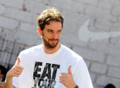 Pau Gasol of the Los Angeles Lakers attends the 'House of Hoops' contest by Foot Locker on October 6 2010 in Barcelona Spain