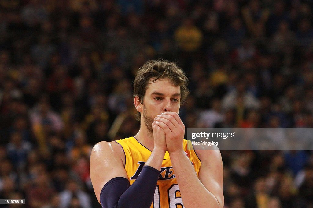 <a gi-track='captionPersonalityLinkClicked' href=/galleries/search?phrase=Pau+Gasol&family=editorial&specificpeople=201587 ng-click='$event.stopPropagation()'>Pau Gasol</a> #16 of the Los Angeles Lakers competes during the NBA Global Games 2013 Beijing game against the Golden State Warriors on October 15, 2013 at the MasterCard Center in Beijing, China.