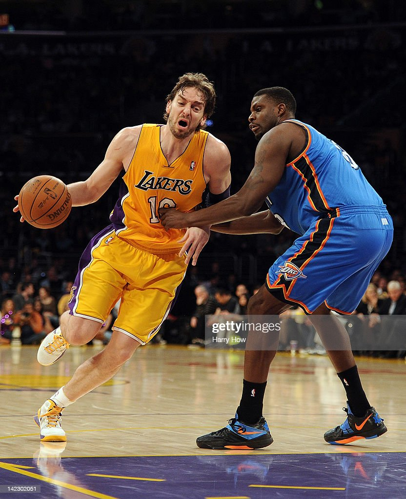 <a gi-track='captionPersonalityLinkClicked' href=/galleries/search?phrase=Pau+Gasol&family=editorial&specificpeople=201587 ng-click='$event.stopPropagation()'>Pau Gasol</a> #16 of the Los Angeles Lakers dribbles around <a gi-track='captionPersonalityLinkClicked' href=/galleries/search?phrase=Nazr+Mohammed&family=editorial&specificpeople=201690 ng-click='$event.stopPropagation()'>Nazr Mohammed</a> #8 of the Oklahoma City Thunder at Staples Center on March 29, 2012 in Los Angeles, California.
