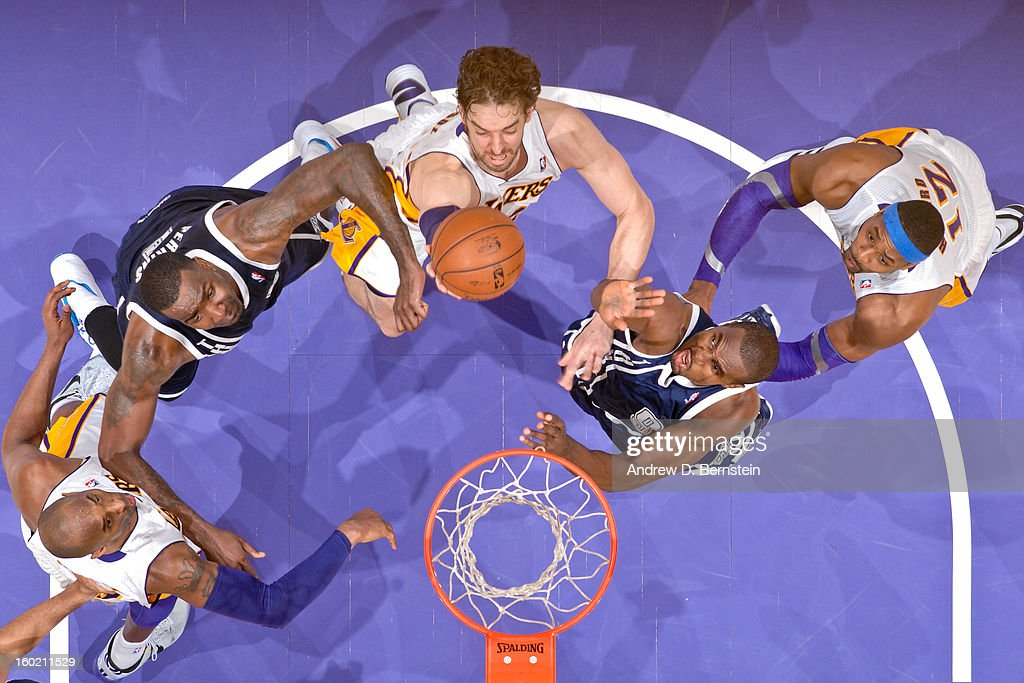 <a gi-track='captionPersonalityLinkClicked' href=/galleries/search?phrase=Pau+Gasol&family=editorial&specificpeople=201587 ng-click='$event.stopPropagation()'>Pau Gasol</a> #16 of the Los Angeles Lakers drives to the basket against <a gi-track='captionPersonalityLinkClicked' href=/galleries/search?phrase=Serge+Ibaka&family=editorial&specificpeople=5133378 ng-click='$event.stopPropagation()'>Serge Ibaka</a> #9 of the Oklahoma City Thunder at Staples Center on January 27, 2013 in Los Angeles, California.