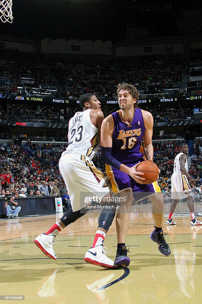 <a gi-track='captionPersonalityLinkClicked' href=/galleries/search?phrase=Pau+Gasol&family=editorial&specificpeople=201587 ng-click='$event.stopPropagation()'>Pau Gasol</a> #16 of the Los Angeles Lakers drives to the basket against the New Orleans Pelicans on November 8, 2013 at the New Orleans Arena in New Orleans, Louisiana.
