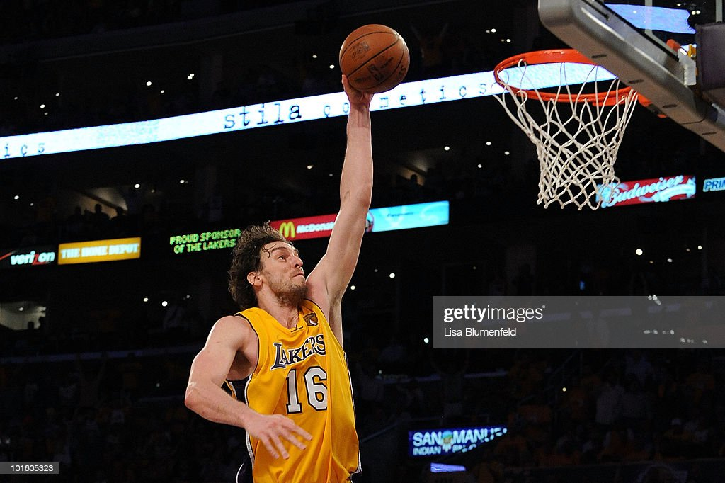<a gi-track='captionPersonalityLinkClicked' href=/galleries/search?phrase=Pau+Gasol&family=editorial&specificpeople=201587 ng-click='$event.stopPropagation()'>Pau Gasol</a> #16 of the Los Angeles Lakers dunks against the Boston Celtics in Game One of the 2010 NBA Finals at Staples Center on June 3, 2010 in Los Angeles, California. Lakers won 102-89.