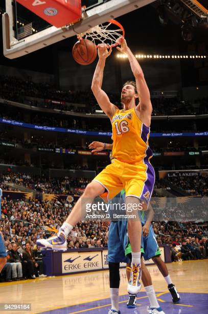 Pau Gasol of the Los Angeles Lakers dunks against the Minnesota Timberwolves at Staples Center on December 11 2009 in Los Angeles California NOTE TO...