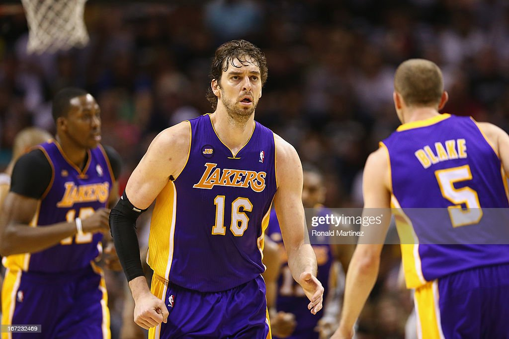 Pau Gasol of the Los Angeles Lakers during Game One of the Western Conference Quarterfinals of the 2013 NBA Playoffs at AT&T Center on April 21, 2013 in San Antonio, Texas.