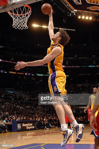 Pau Gasol of the Los Angeles Lakers goes for the dunk during the game against the Philadelphia 76ers on February 26 2010 at Staples Center in Los...
