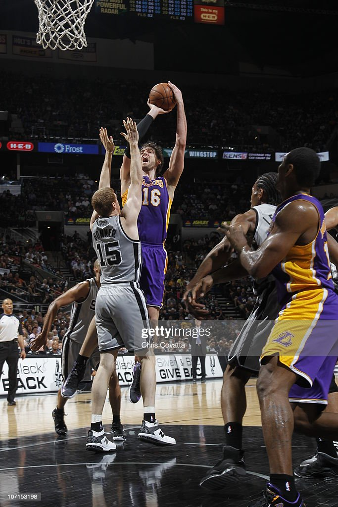 Pau Gasol #16 of the Los Angeles Lakers goes to the basket against Matt Bonner #15 of the San Antonio Spurs during the Game One of the Western Conference Quarterfinals between the Los Angeles Lakers and the San Antonio Spurs on April 21, 2013 at the AT&T Center in San Antonio, Texas.