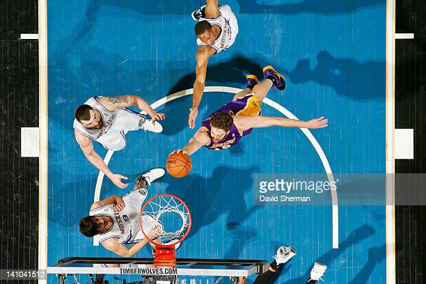 Pau Gasol of the Los Angeles Lakers goes to the basket against the Minnesota Timberwolves on March 9 2012 at Target Center in Minneapolis Minnesota...
