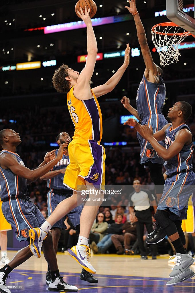 Pau Gasol #16 of the Los Angeles Lakers goes to the basket during the game between the Los Angeles Lakers and the Charlotte Bobcats at Staples Center on January 31, 2012 in Los Angeles, California.