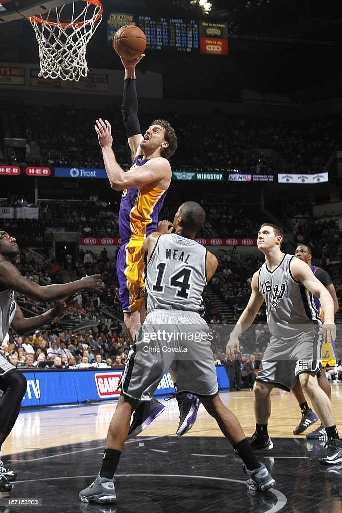 Pau Gasol #16 of the Los Angeles Lakers goes to the basket during the Game One of the Western Conference Quarterfinals between the Los Angeles Lakers and the San Antonio Spurs on April 21, 2013 at the AT&T Center in San Antonio, Texas.