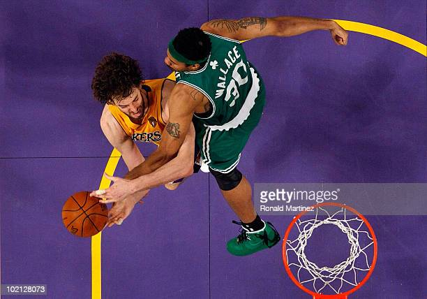 Pau Gasol of the Los Angeles Lakers goes up for a shot against Rasheed Wallace of the Boston Celtics in Game Six of the 2010 NBA Finals at Staples...