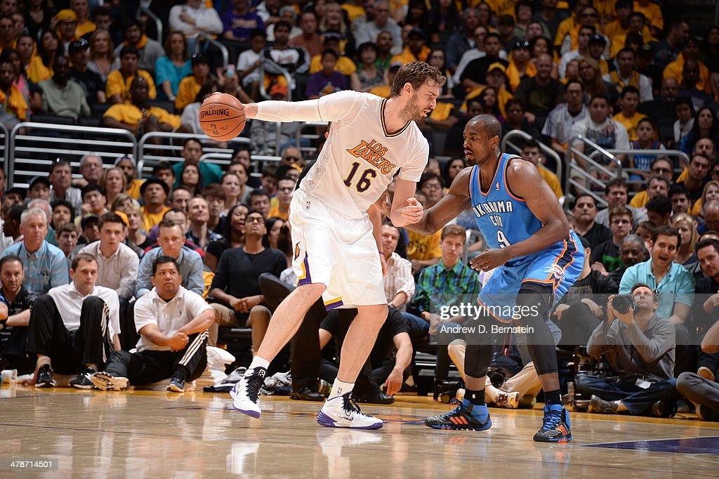 <a gi-track='captionPersonalityLinkClicked' href=/galleries/search?phrase=Pau+Gasol&family=editorial&specificpeople=201587 ng-click='$event.stopPropagation()'>Pau Gasol</a> #16 of the Los Angeles Lakers handles the ball against the Oklahoma City Thunder at STAPLES Center on March 9, 2014 in Los Angeles, California.
