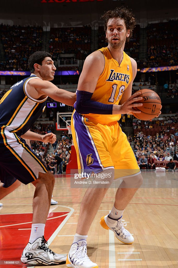 <a gi-track='captionPersonalityLinkClicked' href=/galleries/search?phrase=Pau+Gasol&family=editorial&specificpeople=201587 ng-click='$event.stopPropagation()'>Pau Gasol</a> #16 of the Los Angeles Lakers handles the basketball during a preseason game against the Utah Jazz at the Honda Center in Anaheim, California on October 25, 2013.