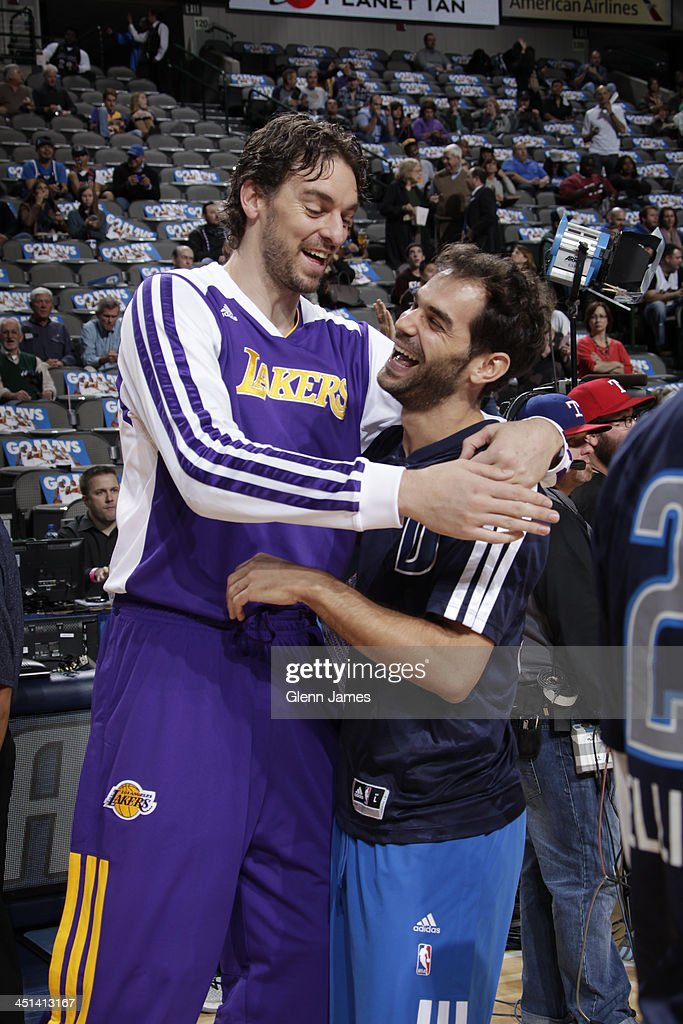 <a gi-track='captionPersonalityLinkClicked' href=/galleries/search?phrase=Pau+Gasol&family=editorial&specificpeople=201587 ng-click='$event.stopPropagation()'>Pau Gasol</a> #16 of the Los Angeles Lakers hugs <a gi-track='captionPersonalityLinkClicked' href=/galleries/search?phrase=Jose+Calderon&family=editorial&specificpeople=548297 ng-click='$event.stopPropagation()'>Jose Calderon</a> #8 of the Dallas Mavericks before the game on November 5, 2013 at the American Airlines Center in Dallas, Texas.