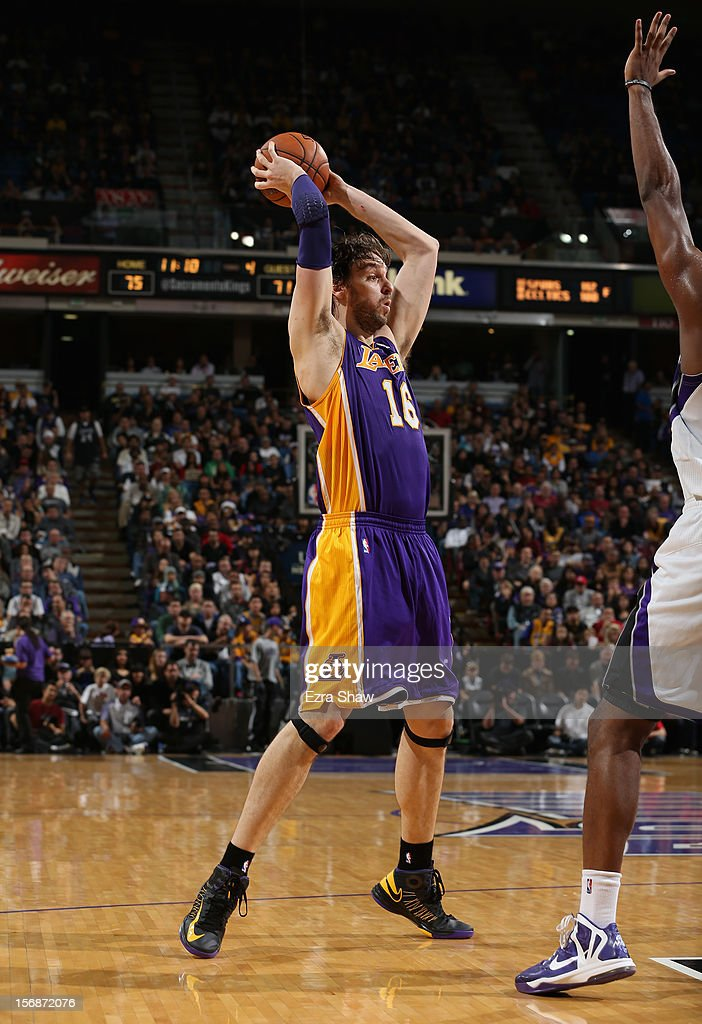 Pau Gasol #16 of the Los Angeles Lakers in action against the Sacramento Kings at Power Balance Pavilion on November 21, 2012 in Sacramento, California.