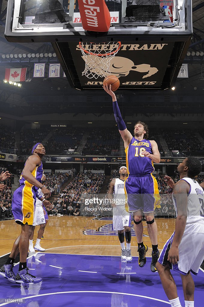 <a gi-track='captionPersonalityLinkClicked' href=/galleries/search?phrase=Pau+Gasol&family=editorial&specificpeople=201587 ng-click='$event.stopPropagation()'>Pau Gasol</a> #16 of the Los Angeles Lakers lays the ball in against the Sacramento Kings on November 21, 2012 at Sleep Train Arena in Sacramento, California.