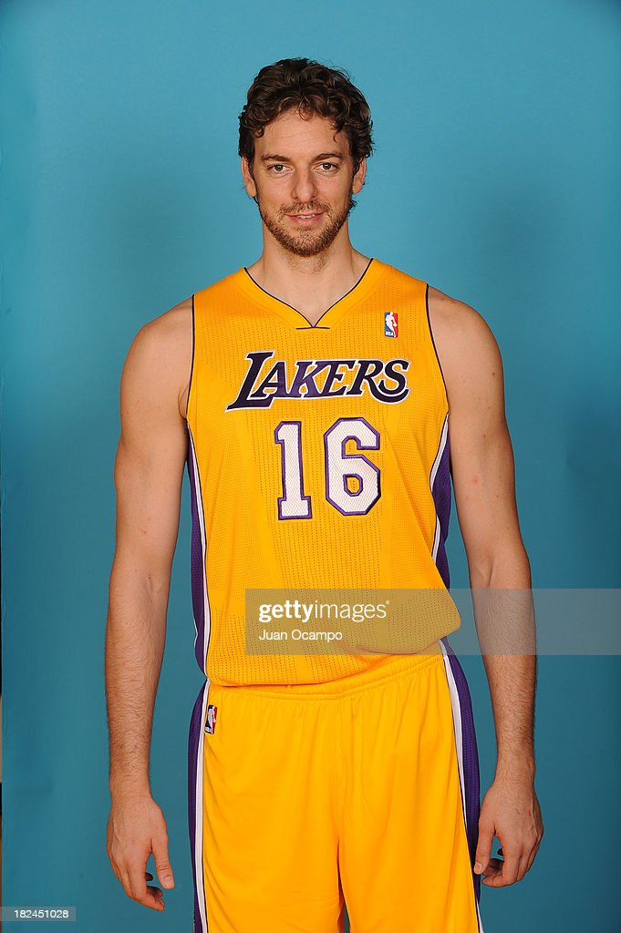 Pau Gasol #16 of the Los Angeles Lakers poses for a head shot during media day at Toyota Sports Center on September 28, 2013 in El Segundo, California.