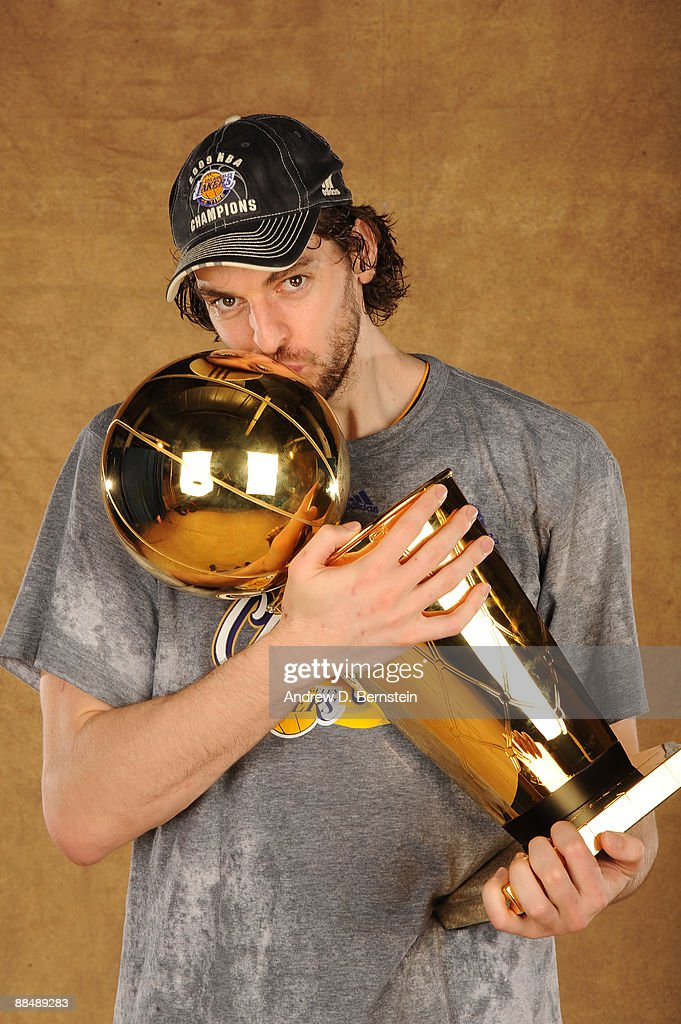 Pau Gasol #16 of the Los Angeles Lakers poses for a portrait after defeating the Orlando Magic in Game Five of the 2009 NBA Finals at Amway Arena on June 14, 2009 in Orlando, Florida. The Los Angeles Lakers defeated the Orlando Magic 99-86.